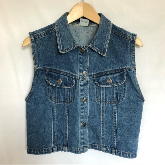 Vintage Santa Fe Blues blue denim cropped vest L